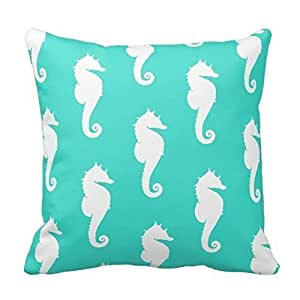 pillow perfect White Seahorses on Turquoise Pillowcases Personalized 18x18 inch Square Cotton Throw Pillow Cover Twin Sides