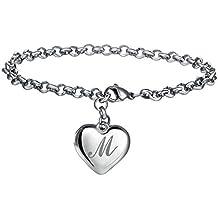 FineMe Initial Charm Bracelets Stainless Steel 26 Letters Alphabet Heart Bracelet Adjustable for Women