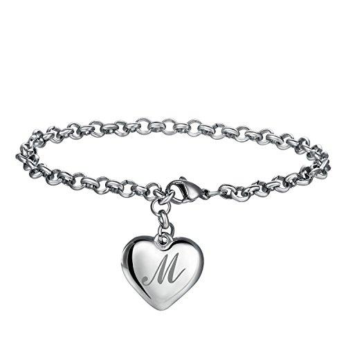 FineMe Initial Charm Bracelets Stainless Steel 26 Letters Alphabet Heart Bracelet Adjustable for (Initials Stainless Steel Bracelet)