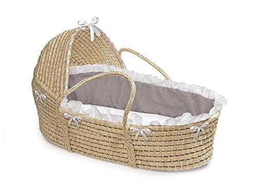 Badger Basket Natural Hooded Moses Basket - Gray/White Bedding (Wicker Basket Bassinet)