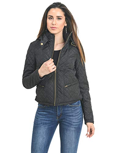 Instar Mode Women's Casual Warm Lightweight Quilted Puffer Jacket with Detachable Hood Black L ()