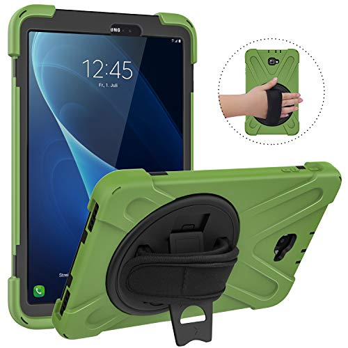 MoKo Samsung Galaxy Tab A 10.1 Case, [Heavy Duty] [Shockproof] Full-Body Hybrid Rugged 360 Degree Rotating Stand Cover for Galaxy Tab A 10.1 Tablet (No S Pen Version SM-T580/T585) - Army Green