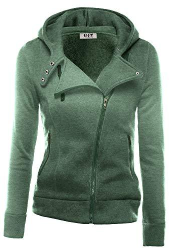- DJT Womens Casual Oblique Zipper Hoodie Jacket Coat Large Green