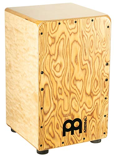 Snare Burl - Meinl Percussion Cajon Box Drum with Internal Strings for Snare Effect - NOT MADE IN CHINA - Makah-Burl Frontplate/Baltic Birch Body, Woodcraft Professional, 2-YEAR WARRANTY WCP100MB