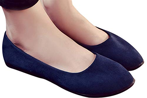Faionny Women Shoes Soft Single Shoes Slip On Shoes Flat Ankle Boots Shallow Sandals Casual Ballerina Shoes (Dark Blue, -