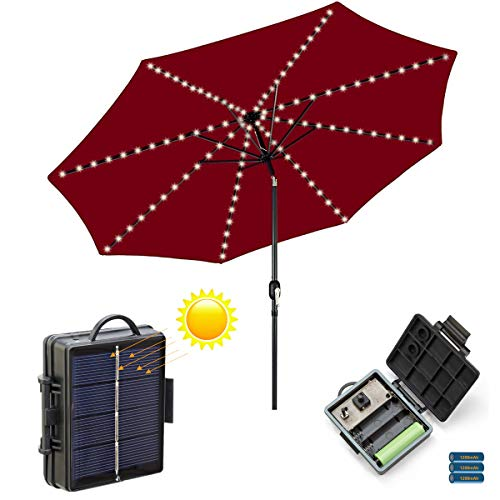 Patio Umbrella Light Led Solar Rechargable or Battery Powered, 8 Light Modes, Auto On/Off, 8 Branches 104 LEDs, Outdoor Umbrella String Lights Waterproof (White, Cable Ties Included)