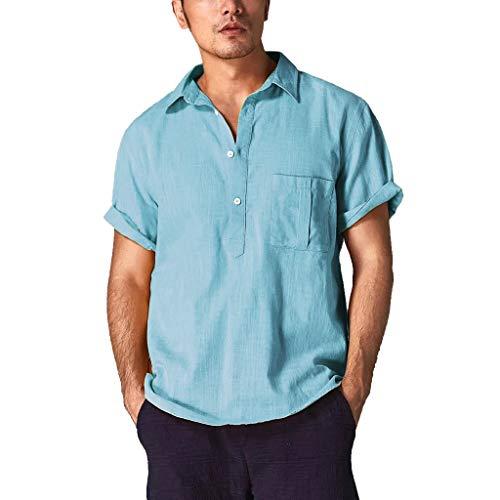 - Fastbot Men Shirts Short Sleeve Polo Shirt Slim fit Baggy Cotton Linen Solid Color Retro Tops Blouse Light Blue