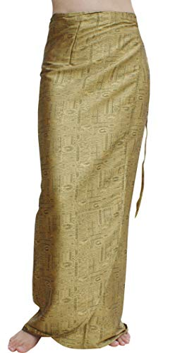 (Raan Pah Muang Brand Thick Geometric Stamped Thai Soft Silk Formal Wrap Skirt, X-Large, Raw Gold )
