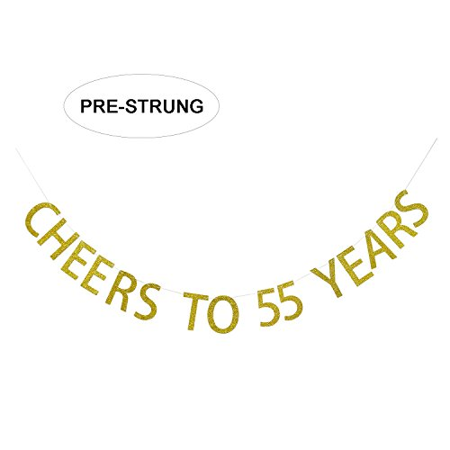 Gold Glitter Cheers to 55 Years Banner - 55th Birthday Party Decorations - 55th Wedding Anniversary Decorations - NO ASSEMBLY REQUIRED