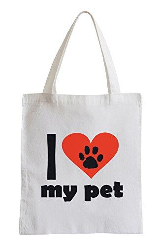 Amo il mio animaletto Fun sacchetto di iuta