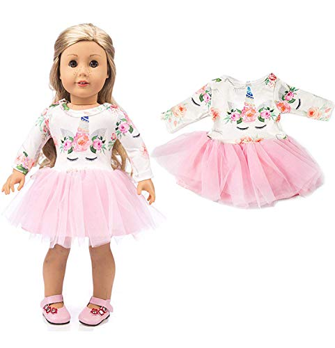 yijing Doll Clothing,Pink Long Sleeve Veil Soft Cotton Unicorn Doll Dress Clothes for 18 inch American Toy Girl Doll (Girls Doll For Shoes)