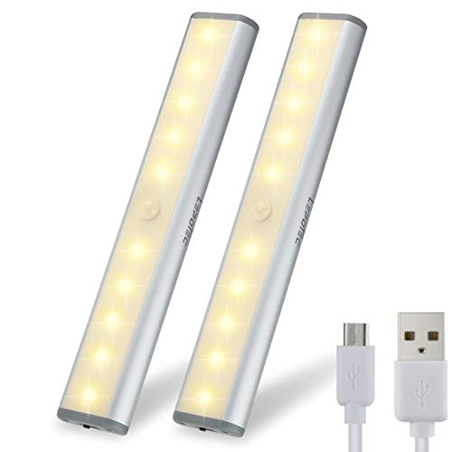 - Motion Sensor Light Cabinet Lights,USB Rechargeable 10 LED Cabinet Lighting, Magnetic Removable Stick-On Anywhere for Closet/Wardrobe/Drawer/Cupboard, Warm White Light, Silver, 2 Pack