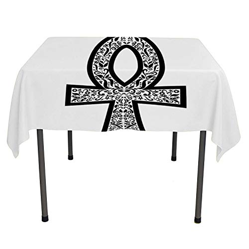 - Ankh Outdoor Tablecloth Sacred Eternal Life Symbol Icon Flowers Middle Eastern Minimalist Style Black and White Custom tablecloths Rectangle Tablecloth 60 by 84 inch