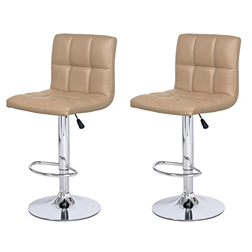 DecentHome Bonded Faux Leather Furniture Swivel Adjustable Hydraulic Bar Stool Set of 2 Beige For Sale
