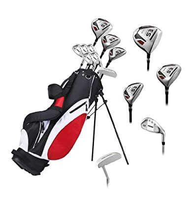 Precise ES Mens Complete Right Handed Golf Clubs Set Includes Titanium Driver, S.S. Fairway, S.S. Hybrid, S.S. 6-PW Irons, Putter, Stand Bag, 3 H/C's - Choose Size!
