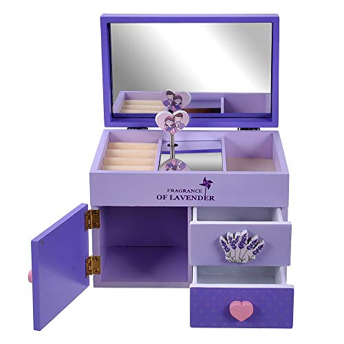 Fairy Tale Musical Jewelry Box for Girl - Purple Glittery Girl Music Box with Ring Holder(Purple) (Fairy Music Box)
