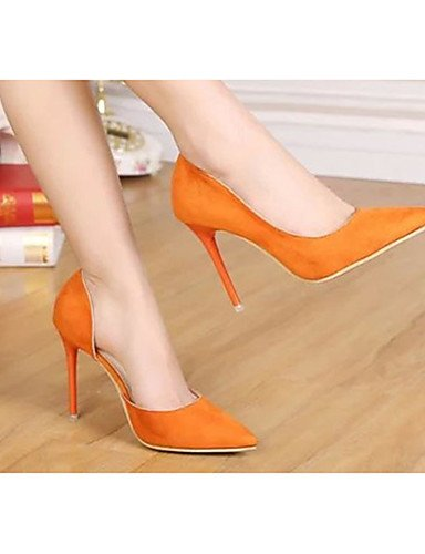 tacones Zq Naranja Black tacones De Mujer tac¨®n Cn39 Zapatos Stiletto us8 Eu39 Orange us8 vell¨®n Uk6 casual negro XSqxwrX1