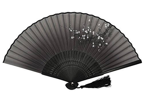 [DawningView Japanese Folding Fan, with East Asian Ink Paintings/Suibokuga/Sumi-e (Plum Blossom,] (Fan Costumes)