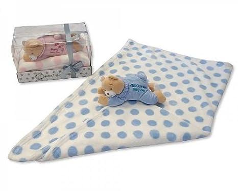 6fa7c0d727205 Bébé Garçon Bleu doux Ours en peluche en pyjama et couverture – Livré dans  une boîte