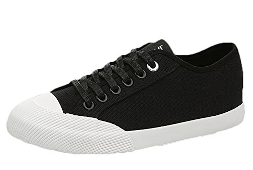 Passionow Women's Stylish Breathable Lace-up Cap Toe Flat Fashion Sneakers Walking Shoes (8 B(M)US,Black) (Doc Martin Sandels)
