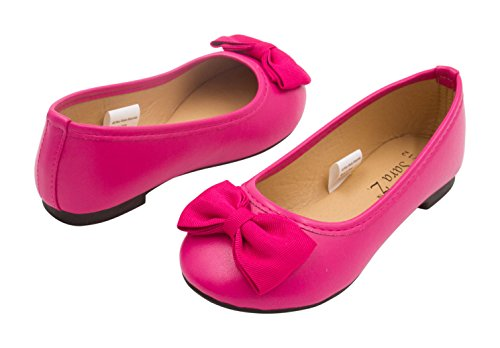 Girls Ballet Flats Size 11-12 Round Toe Embellished with Grosgrain Bows Slip-On Shoes Flexible PU Leather Fuchsia -