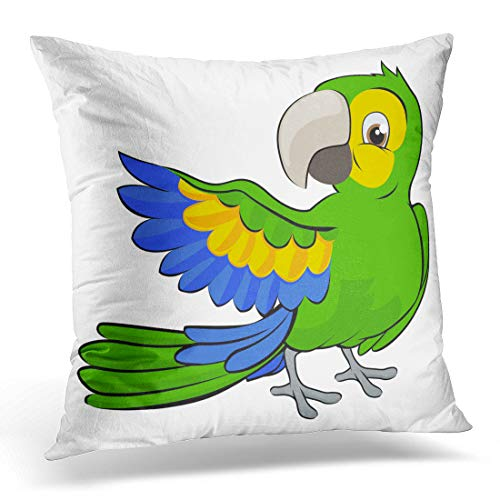 - Emvency Throw Pillow Cover Blue Clipart Cute Cartoon Parrot Mascot Character Pointing Wing Decorative Pillow Case Home Decor Square 18