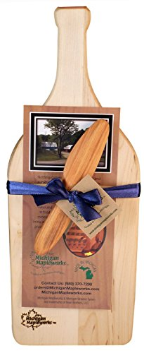 Wine Bottle Shaped Solid Maple Wood Cheese board Gift Set - MADE IN USA. Kitchen Cutting Board Large. Housewarming Gift, Hostess Gifts or Birthday Gift for Home Décor by Michigan (Wine Bottle Cheese Board)