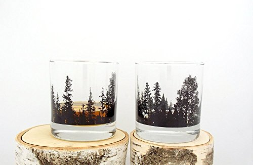 Whiskey Glasses - Forest Landscape - Set of Two 11oz. - Set Rustic Tumbler