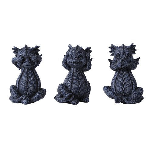 See, Hear, Speak No Evil Dragon Shelf Sitter Computer Top Sitters ()