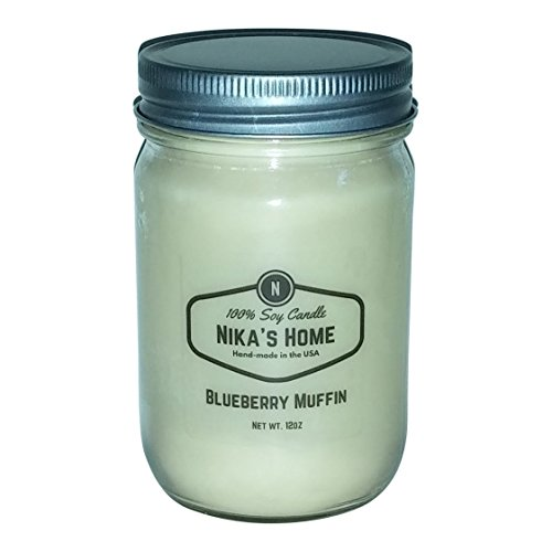 Mason Jar Soy Candle - Nika's Home Blueberry Muffin Soy Candle - 12oz Mason Jar