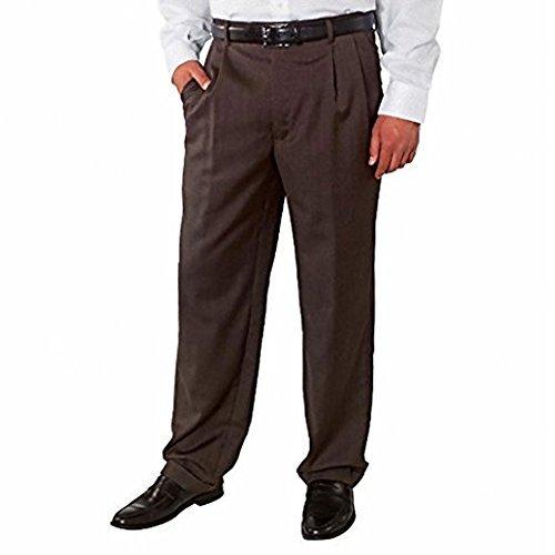 Kirkland Signature Men's Wool Gabardine Flat Front Dress Slack Pant, Brown Herringbone 755, Size (Wool Gabardine)