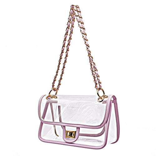 Laynos Clear Purse Turn Lock NFL Approved Chain Waterproof Crossbody Shoulder Bags Handbags Silver Purple Pink