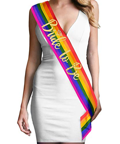 Rainbow Bride Gay Wedding Sash - Metallic Gold Diamond Bride to Be Sash Gay Pride Rainbow Bridal Lesbian Sash(DiaB2B Gld) RBW]()