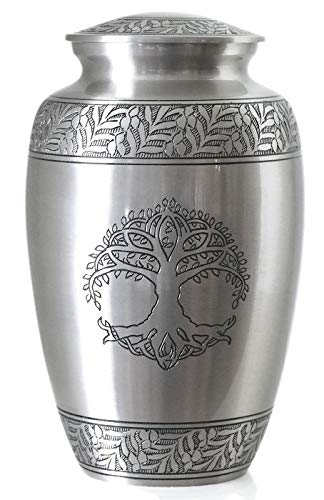 (Tree of Life Silver Pewter Cremation Urn for Ashes/Funeral Urns by Glow Choice/Gift or Tribute Vase for Burial Memorial/Beautiful & Affordable)