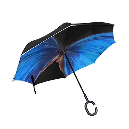 YUMOING Double Layer Inverted Animal Butterfly Insect Nature Morpho Blue Umbrellas Reverse Folding Umbrella Windproof Uv Protection Big Straight Umbrella For Car Rain Outdoor With C-shaped - Morpho Umbrella Blue