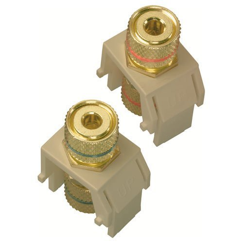 On-Q/Legrand Speaker Binding Post Keystone Connector, Almond (Pair) by On-Q
