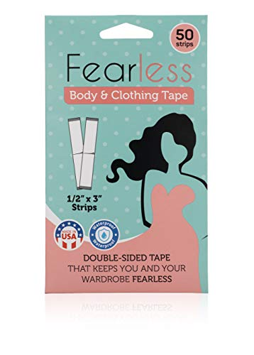 Fearless Tape - Womens Double Sided Tape for Clothing and Body, Transparent Clear Color for All Skin Shades, 50 Count. -