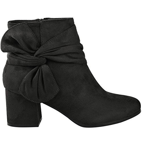 Heels Fashion Comfy Thirsty Boots Womens Bow Suede Chelsea Faux Winter Black Size Casual Ankle Shoes Block Ladies UgUpqr8