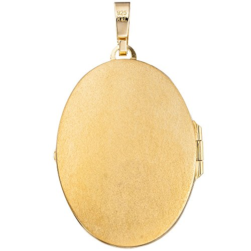 JOBO médaillon ovale en argent sterling 925 plaqué or pour ouvrir pour 2 photos