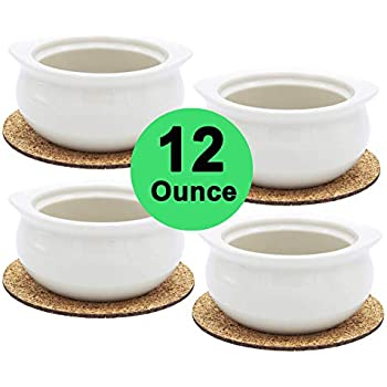 Premium Porcelain 12 Ounce Onion Soup Bowls - American White - Set of 4 with Cork Coasters - Classic European Style Healthy Portion Crocks - Oven- Microwave- Dishwasher safe
