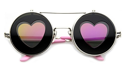 Round Sunglasses Heart Silhouette Flip Up Hippie Sunglasses (Pink, - Her For Sunglasses