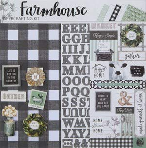 Farmhouse 12x12 Scrapbooking Page Kit, Stickers, Letters, Papers, Die Cuts, Photo Albums