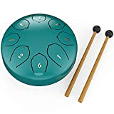 Steel Tongue Drum Instrument, Percussion Instrument Steel Pan Drum with Steel Tongue 6 Inches G major 8 Tones, Used for Yoga, Meditation, Entertainment, Gathering, Practice