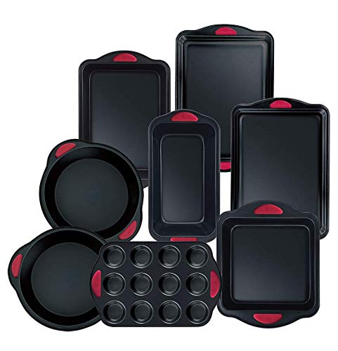Hell's Kitchen Nonstick 8 Piece Ultimate Bakeware Set - Baking Pans and Baking Sheet in Non Stick with Red Silicone Grips - Bakeware Set includes Cookie, Cake, Muffin, Roasting and More by Hell's Kitchen (Image #9)