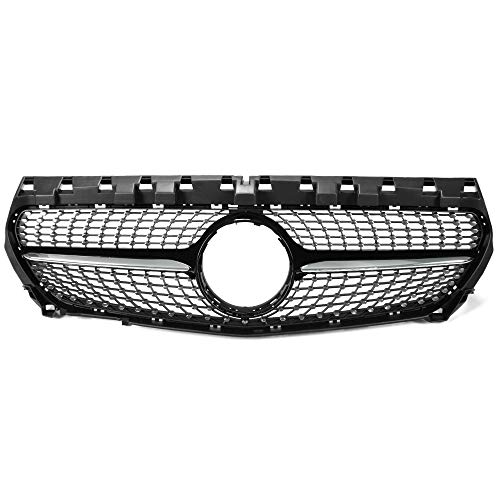 For Mercedes Benz W117 CLA Class CLA180 CLA200 CLA250 CLA260 CLA45 AMG 2014 2015 2016 Front Diamond Style Bumper Grille Upper Hood Grill Trim Shell Chrome Black