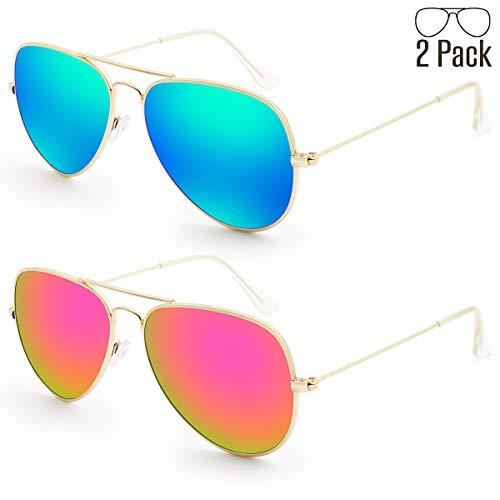 1b834f9bad Livhò Sunglasses for Men Women Aviator Polarized Metal Mirror UV 400 Lens  Protection