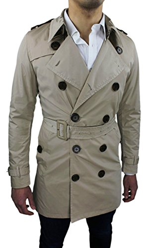 Chaqueta los Trench Chaqueta larga casual Slim Beige Coat Abrigo Fit Chaqueta de hombres SZSw1r