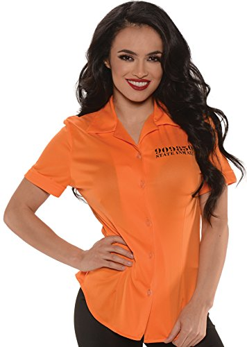 Underwraps Women's Plus-Size Prisoner Fitted Shirt, Orange, XX-Large ()
