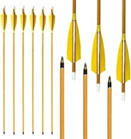 MS Jumpper Carbon Arrows 500 Spine with Real Feather Fletching and Field Points for Archery Target Shooting (6
