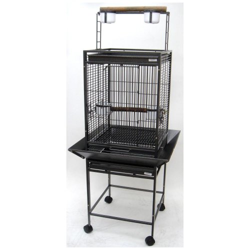 YML 1/2-Inch Bar Spacing Play Top Wrought Iron Parrot Cage, 18-Inch by 18-Inch in Antique Silver, My Pet Supplies